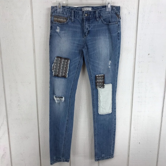 Free People Denim - Free People distressed patchwork jeans size 27